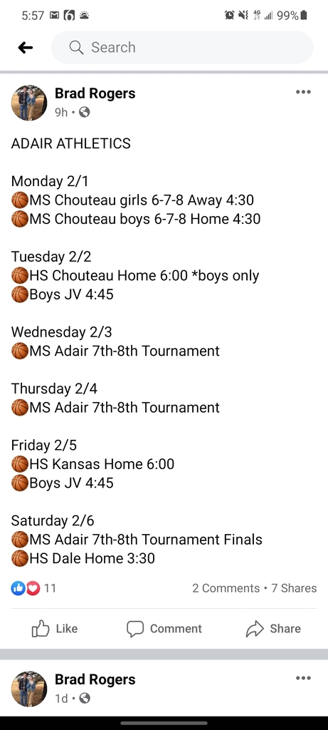 ADAIR Athletics updates...